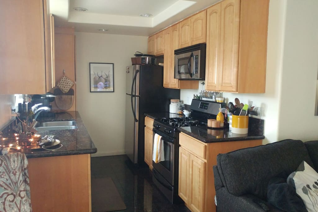 kitchen offering gas stove, fridge, microwave, and dishwasher.