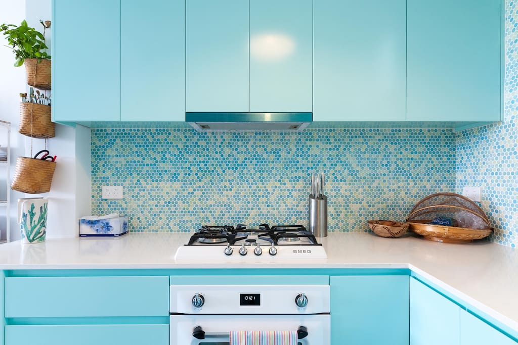 This newly renovated kitchen has brand new Smeg appliances and a DeLonghi coffee machine.