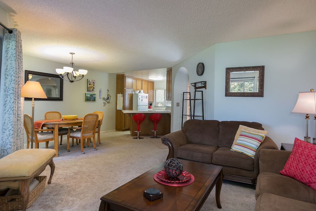 The open concept living area allows the whole group to gather together.