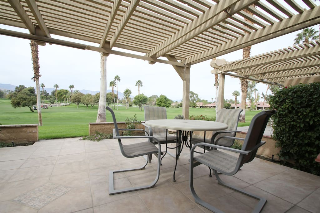 Patio overlooking the golf course for relaxing or grilling