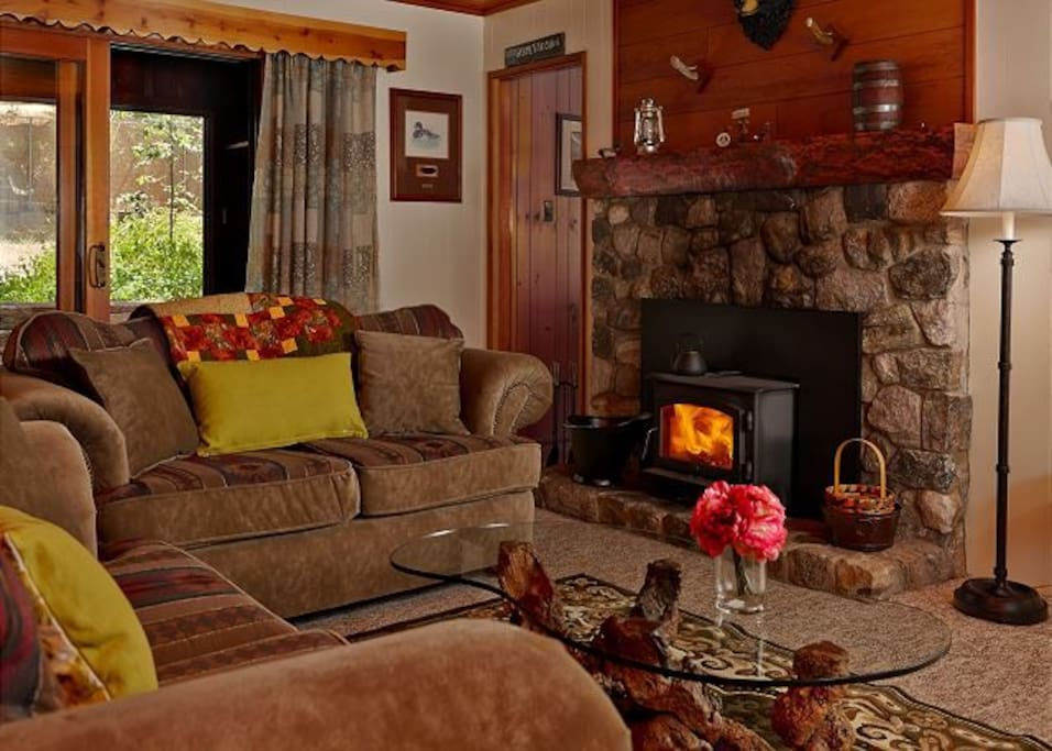 Cozy living room with wood burning stove.