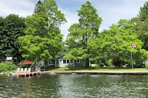 View of the cottage waterfront and large 125' of private frontage.