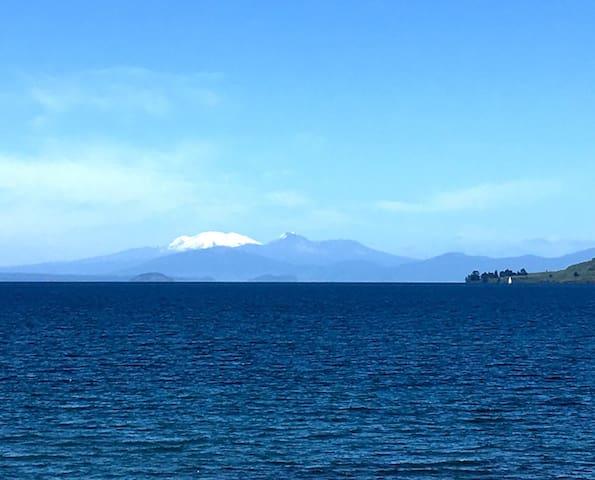 We have beautiful views over lake Taupo