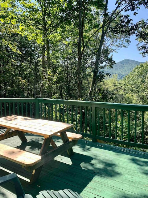 Views, Fire Pit & Pool Table @Round House in Helen