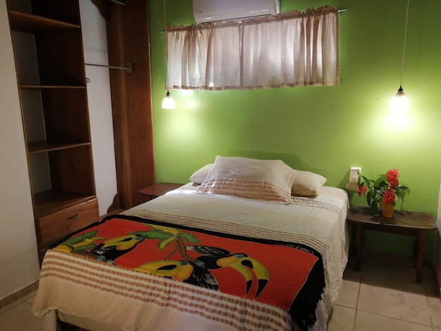 Second bedroom with queen bed and AC.