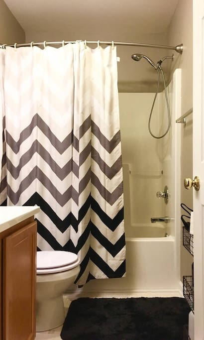 Full bath with tub/shower combo.  May be shared if other rooms are booked for the same night.
