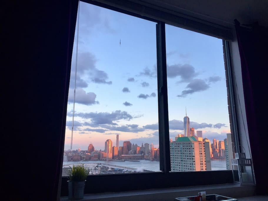 View from your bedroom window: the Freedom Tower at sunset