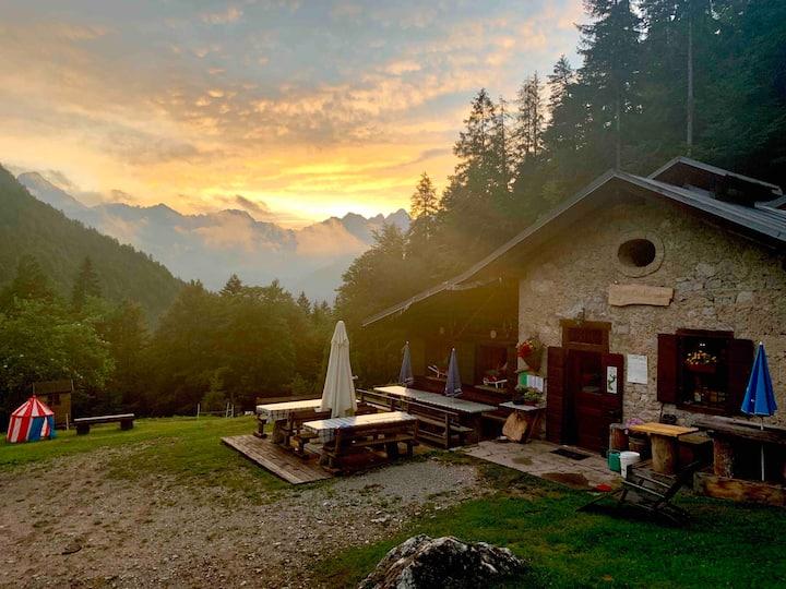 Mountain Hut in the Dolomites Rifugio Cercená