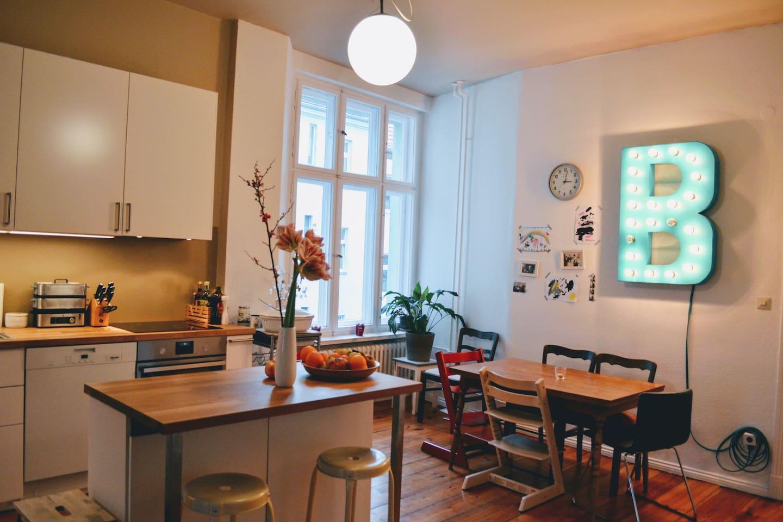 The spacious living kitchen area