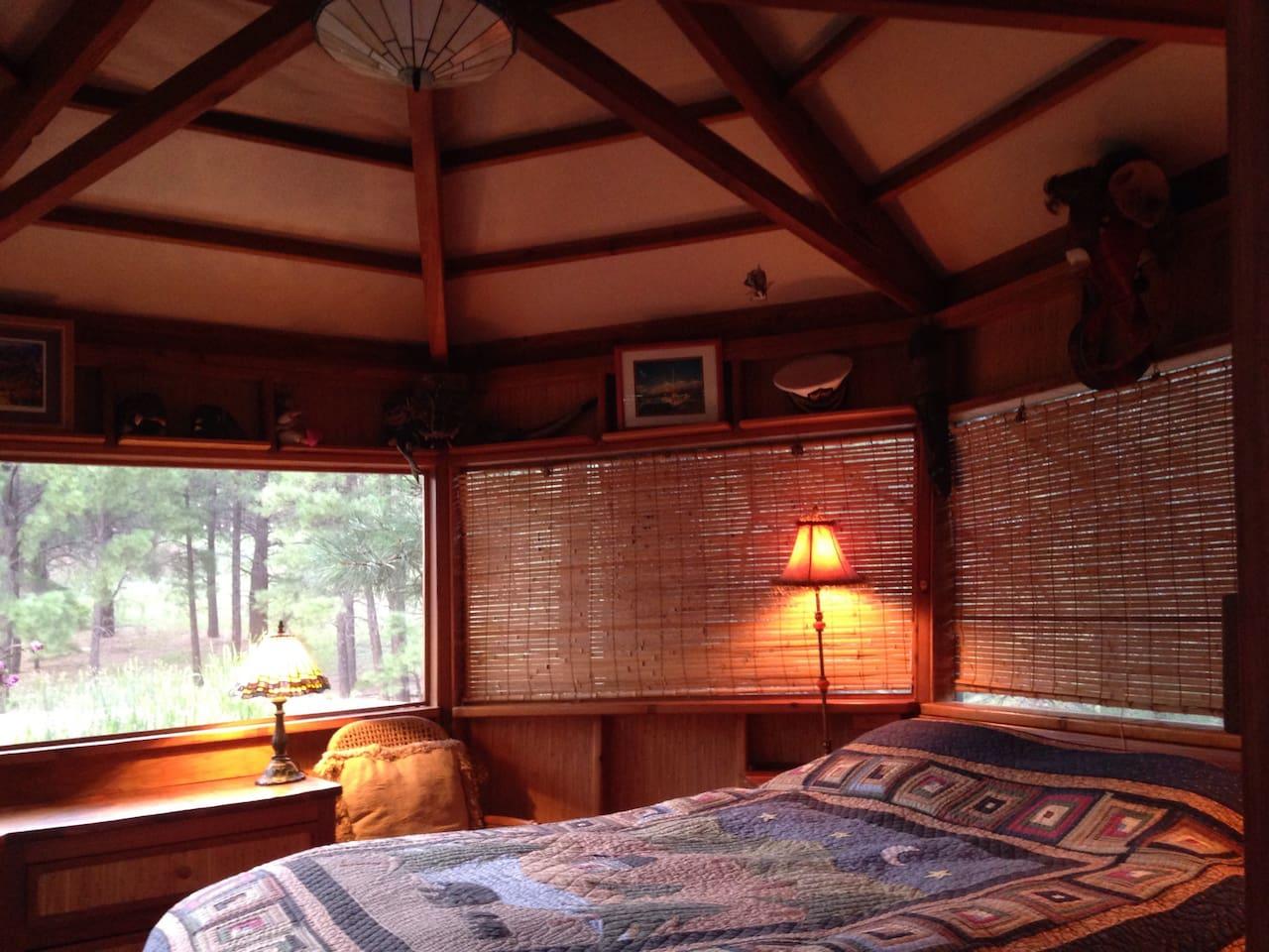 Inside of 7 sided cabana bedroom