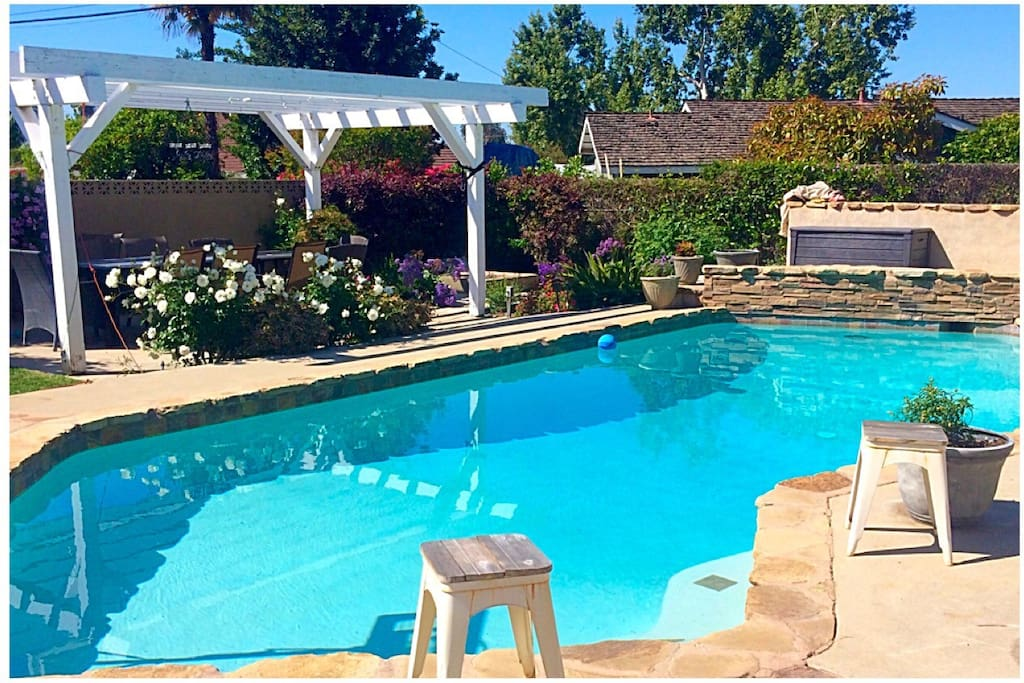 Every morning you walk out of the Cottage and are instantly pool side! The pools always available for swimming! It's heated by the sun, so the best season for swimming is April-October.