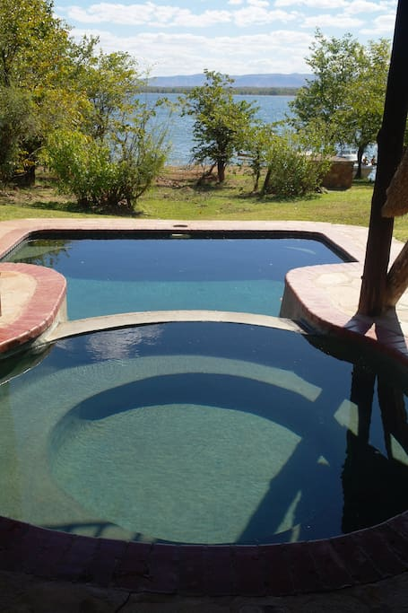 Two plunge pools on the veranda