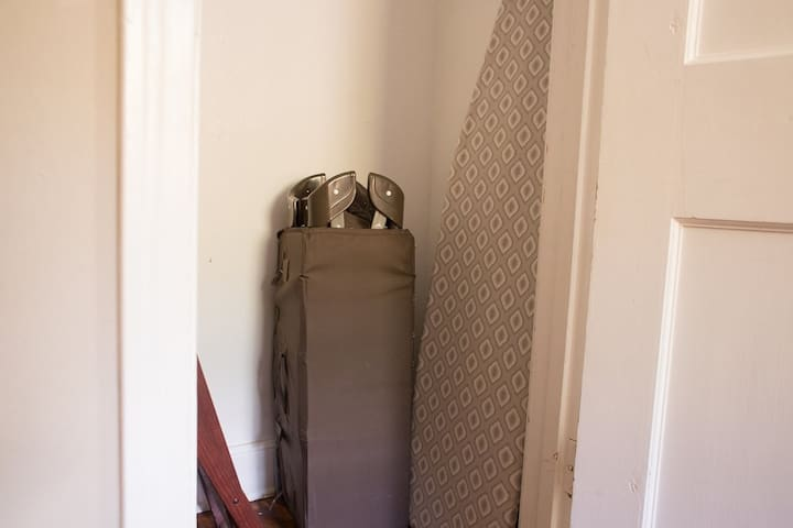Pack and play available; and ironing board