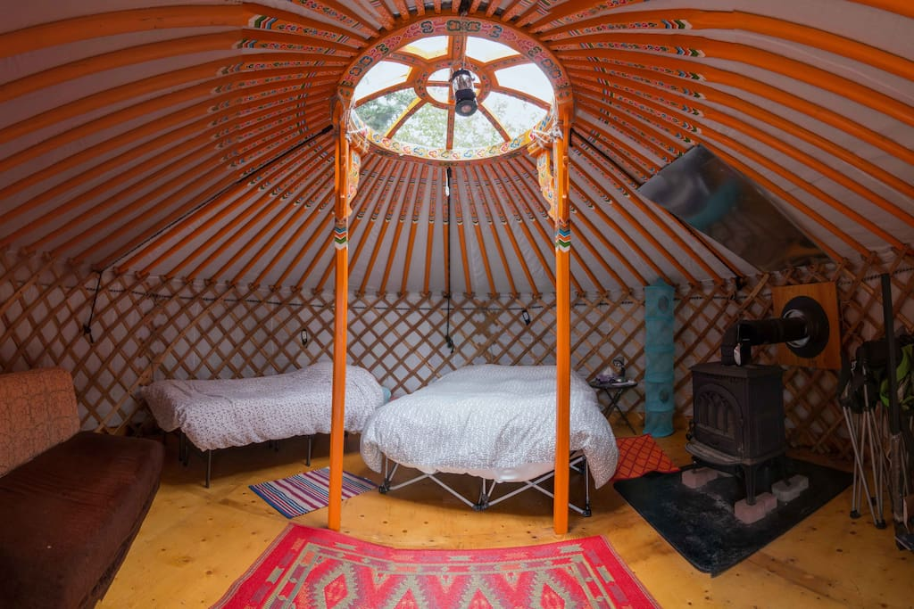 Inside you'll find a double and a twin bed, a wood stove, solar lights and flashlights as there is no electricity.