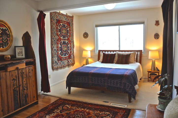 Bedroom 1 with Queen TempurPedic mattress and beautiful view of the river.