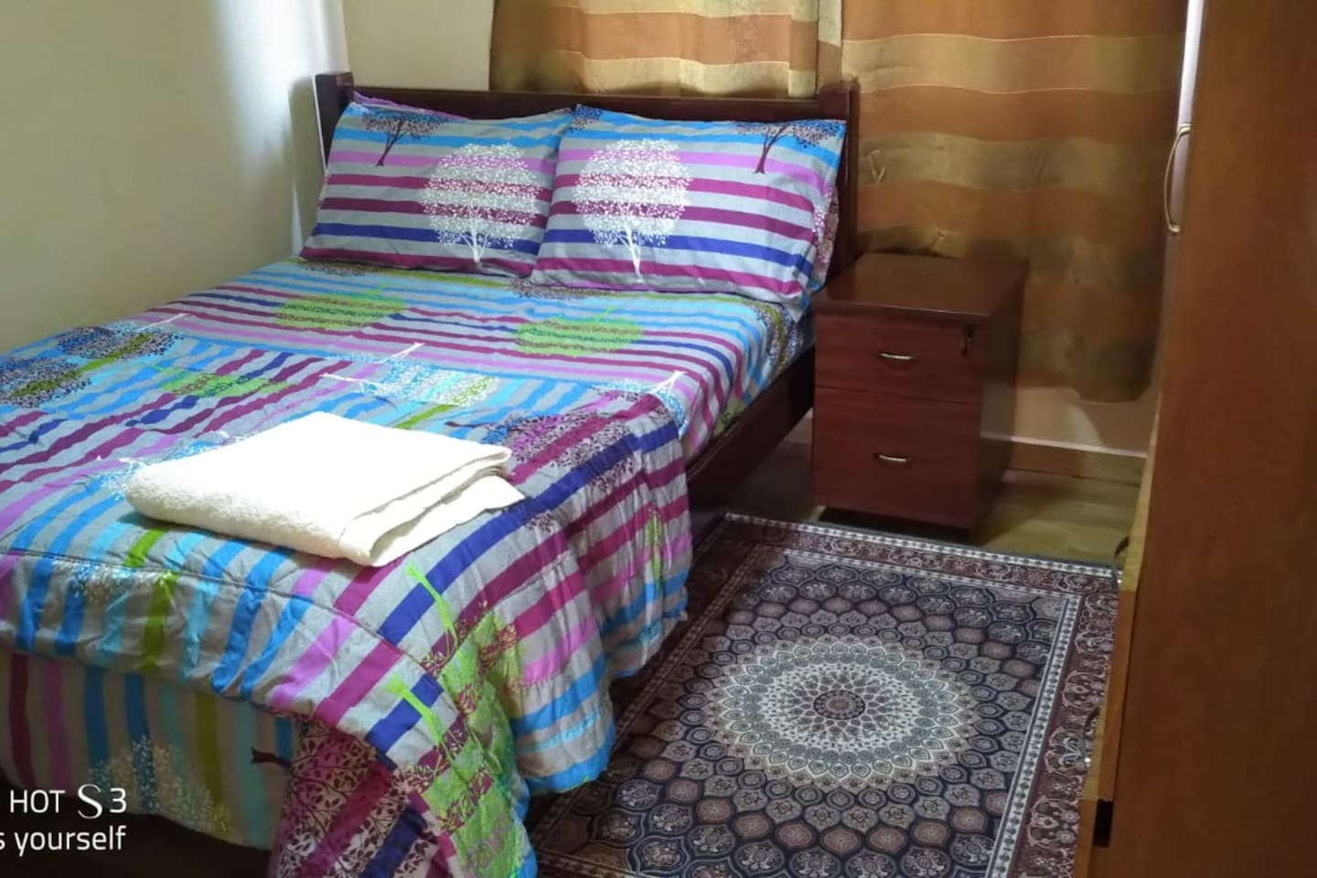 cozy room with double spring mattress