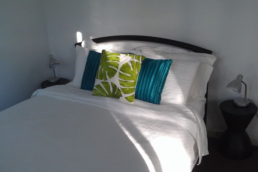 Double bed with cotton bedding