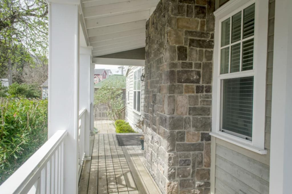 View of the wrap around porch to the back of the home