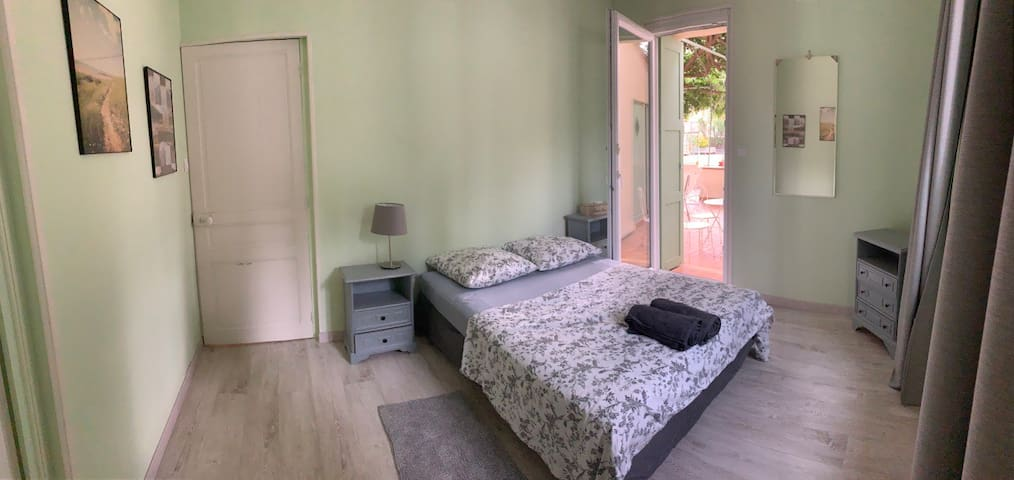 Second double bedroom (with adjacent twin room) opening onto the terrace
