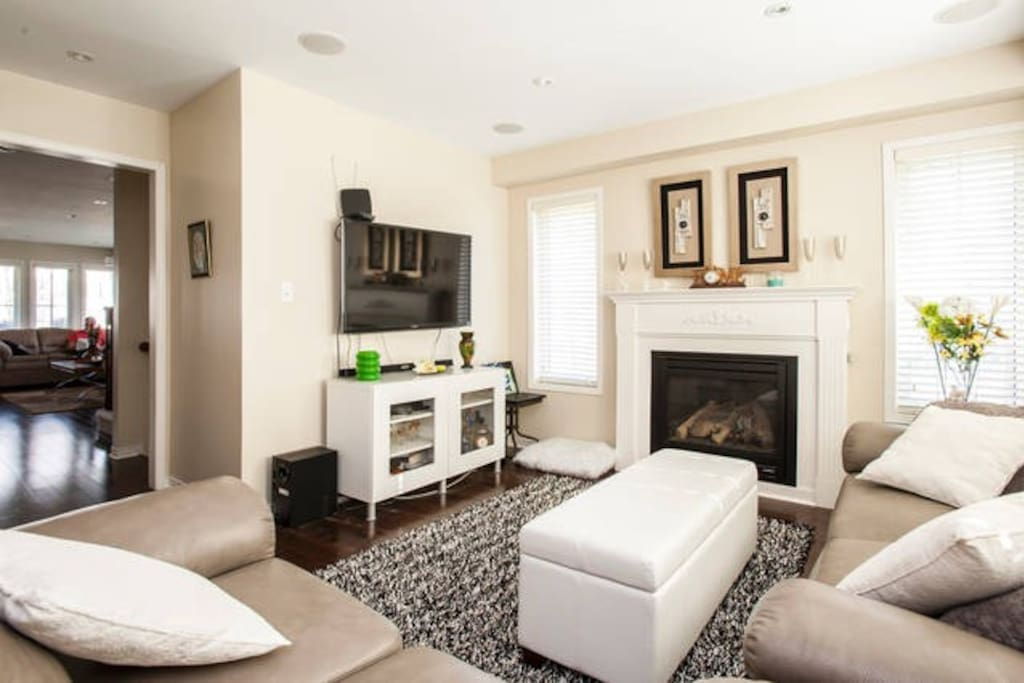 Family room with nice fireplace