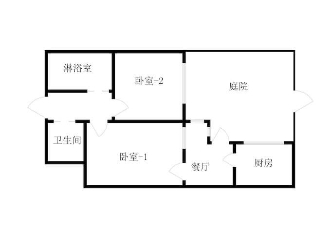 【房型图】房源是70平左右,套二厅带有独立院子。