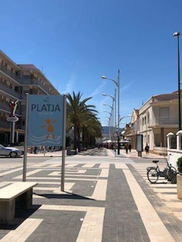 Oliva Beach. Pedestrian street with small restaurants