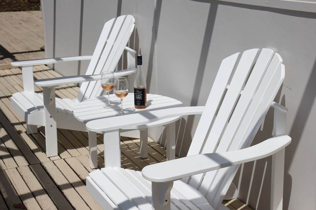 Relax with a glass of wine on our Cape cod deck chairs