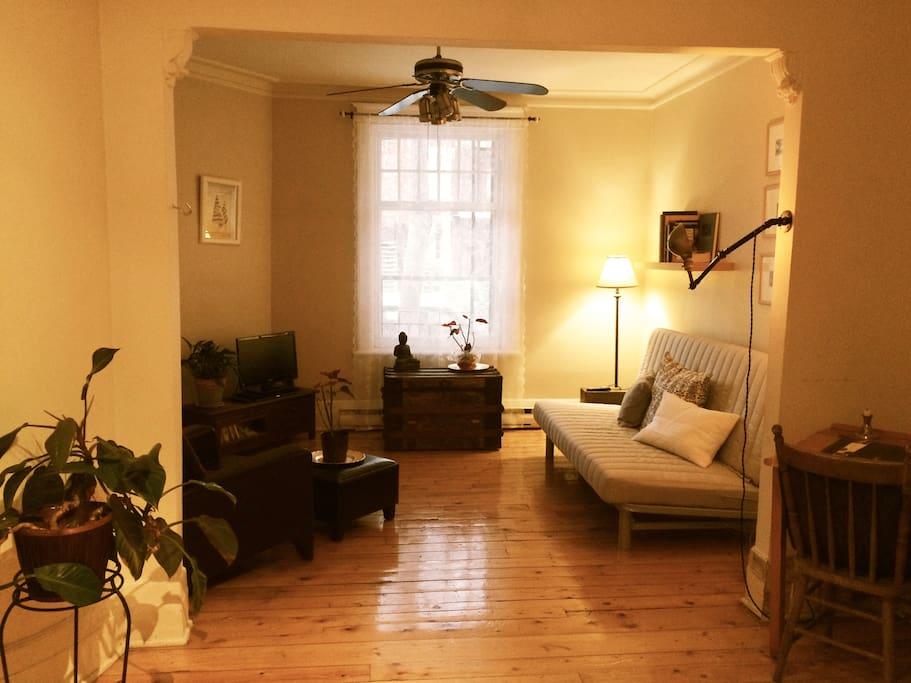 Salon où il y a un confortable futon.