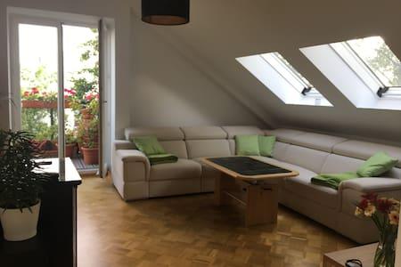 Bedroom in cozy attic flat at Temepelhofer Feld