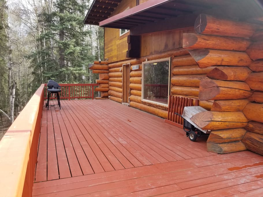 The deck is great for BBQs. The kitchen opens up right onto the sunny back deck.