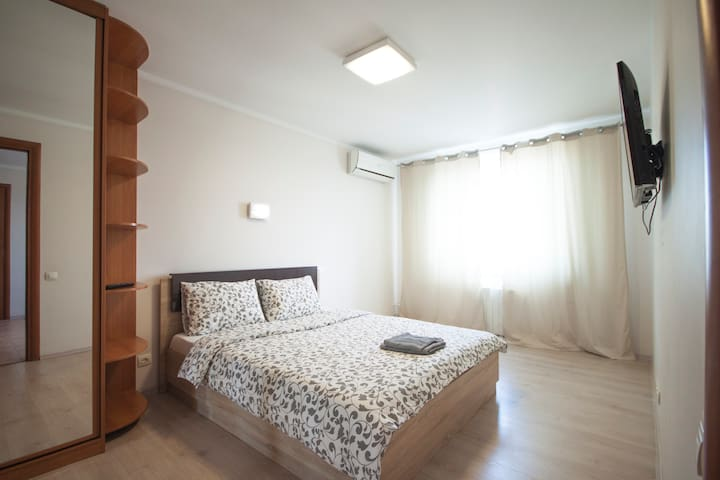 In the master bedroom you will find King-size bed, flat TV, air-conditioner and large wardrobe