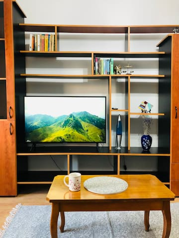 Living Room.  We provide strong WiFi internet connection and a new UHD 4K SMART TV for you to watch Netflix, HBO GO and Amazon Prime or other clips on Youtube, directly from your mobile device using the apartment WiFi via screencast.