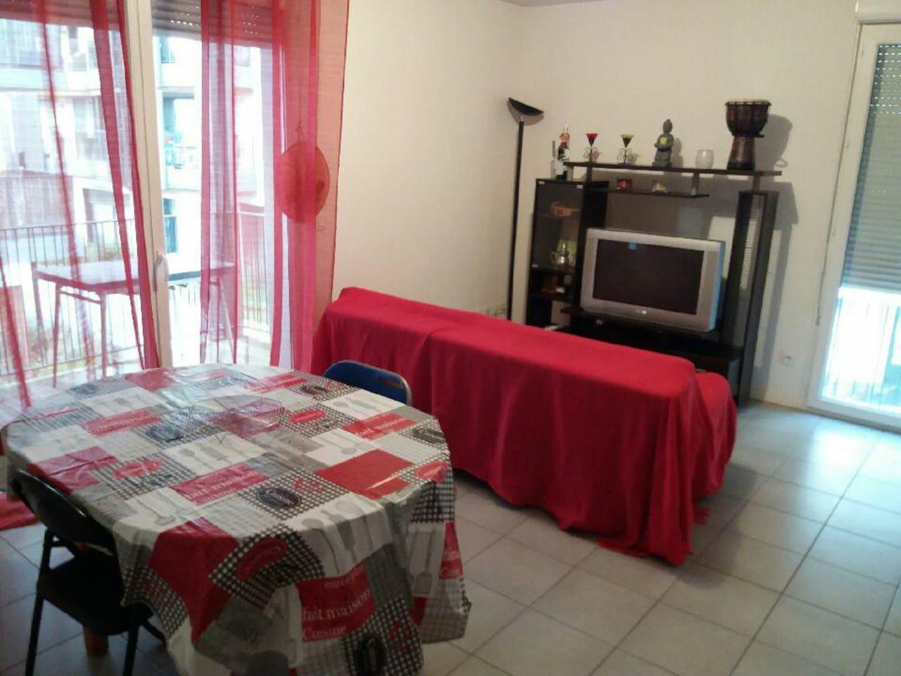 Salon chaleureux avec un canapé lit deux places