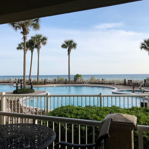 1st FLOOR walk-out, direct to beach. Heated pool!