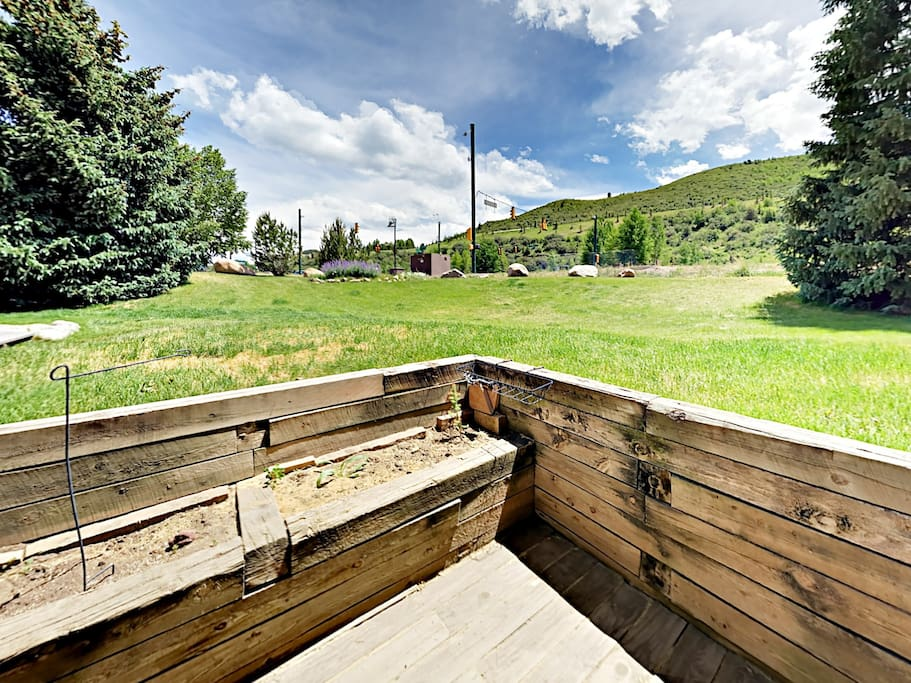 A private patio offers beautiful views of the surrounding area.