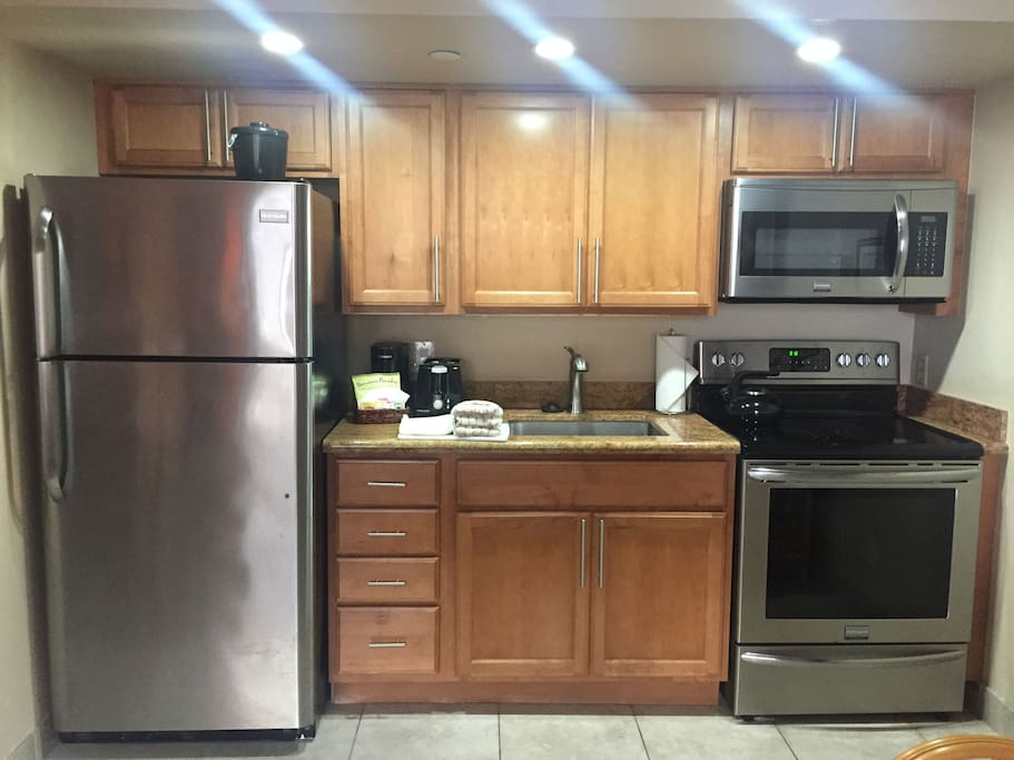 The fully stocked, remodeled kitchen.