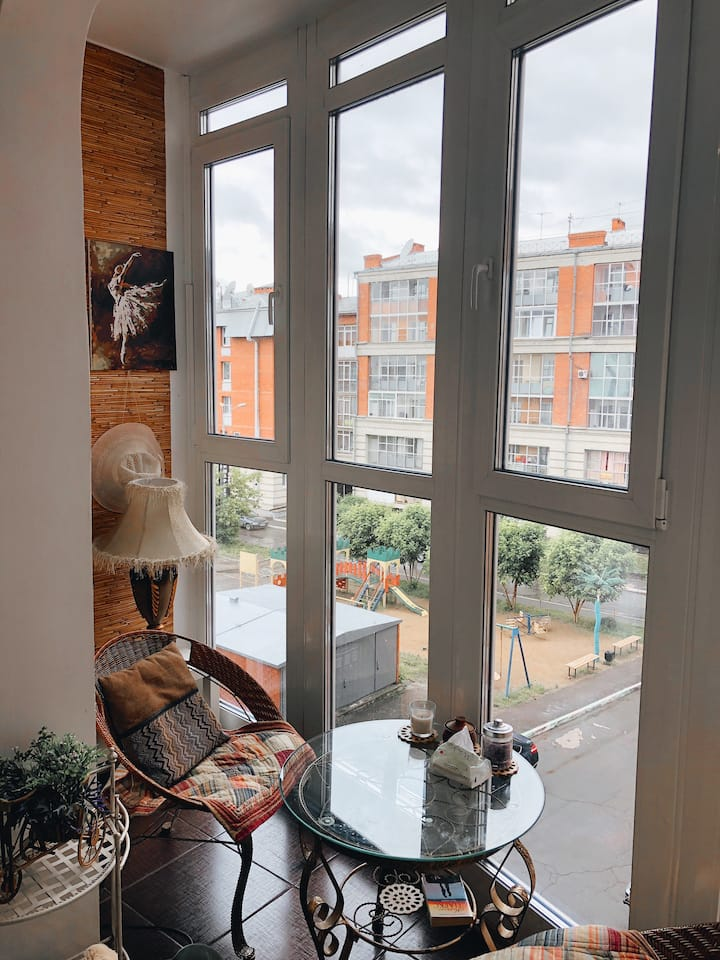 Bright apartment by the river