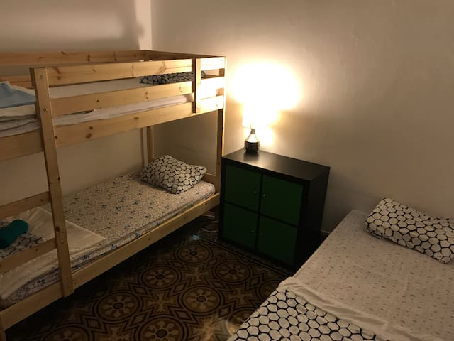 Bunk bed in small female-only dormitory