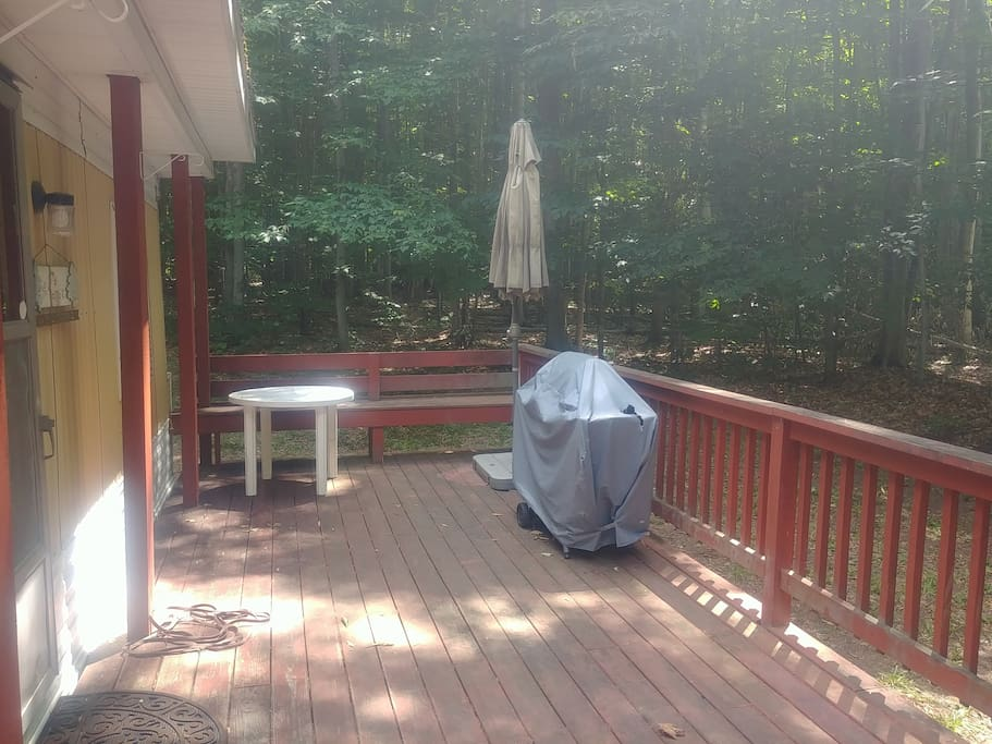Front deck with propane grill available for guest use