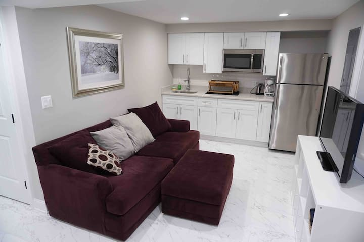 Common area with plush comfy couch, smart TV, and kitchenette