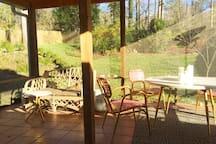 Peaceful sunroom overlooking the backyard