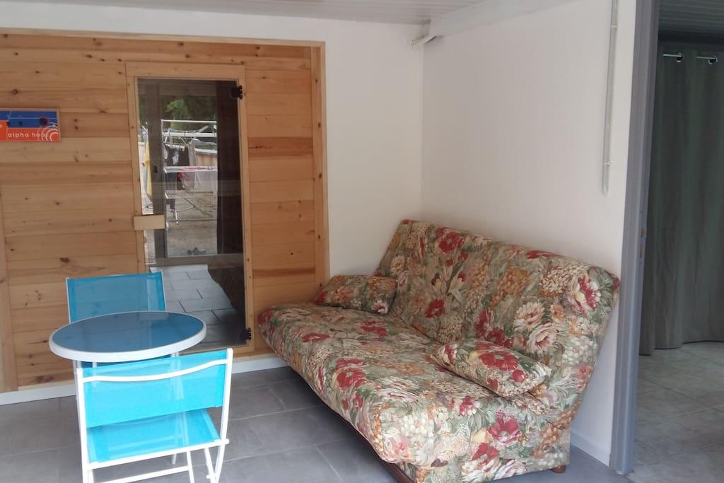 coin  detente avec son sauna