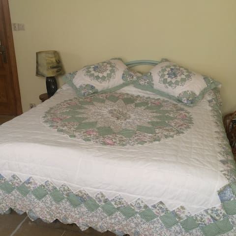Big wide bed, with cotton bedclothes, 2 pcs.