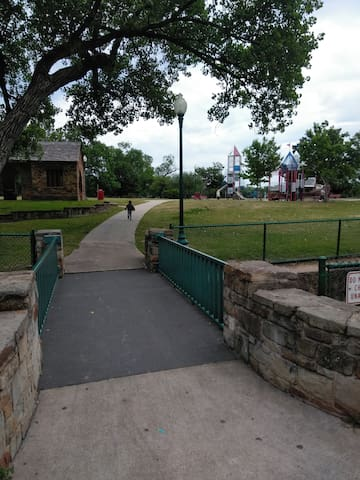 Nearby park with trail.