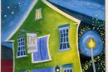 One of many works painted by local and Maine artists of the Tap House; this one is by Craig Jud