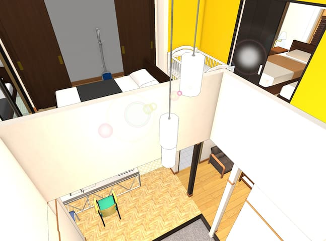 A view of center room (hallway), the master bed room (on the right), and a big opening above the entrance hall, seen from the ceiling (where I cannot physically go to take a photo...)