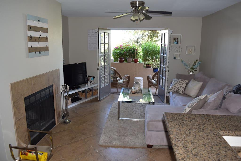 Fireplace, lounging area, Patio