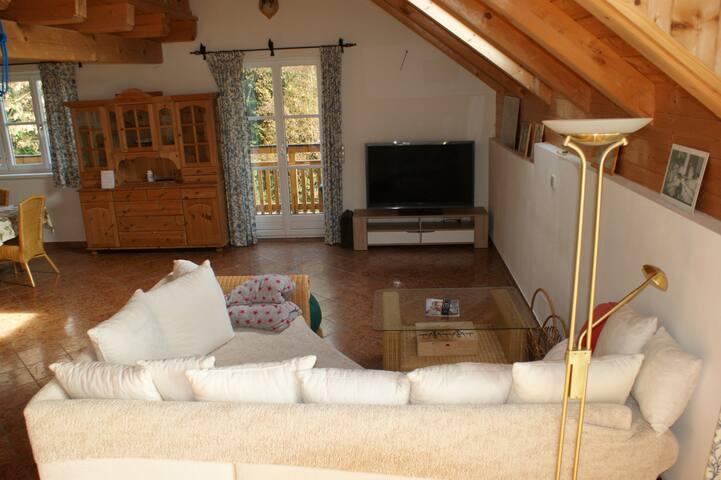 Wohnzimmer mit Flat TV (Sat)