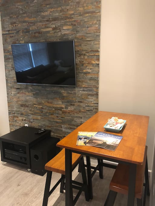 "Dining table, 50"" LG TV Sony Home Theatre System"