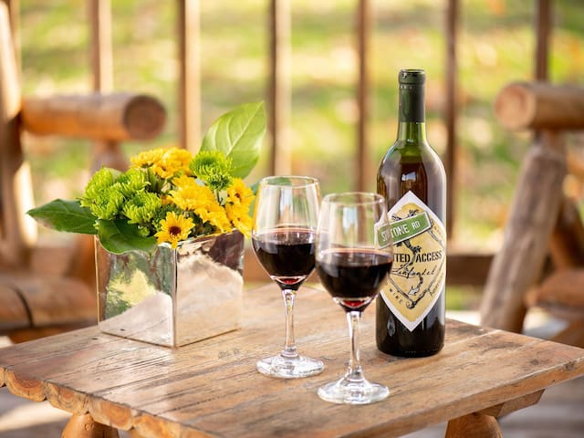 Relax on the front porch with a nice glass of wine